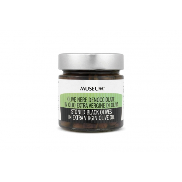 Museum sorte oliven uden sten i ekstra jomfru olivenolie
